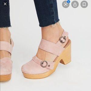 Free people pink suede clogs